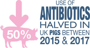 se of Antobiotics halved in UK pigs between 2015 & 2017